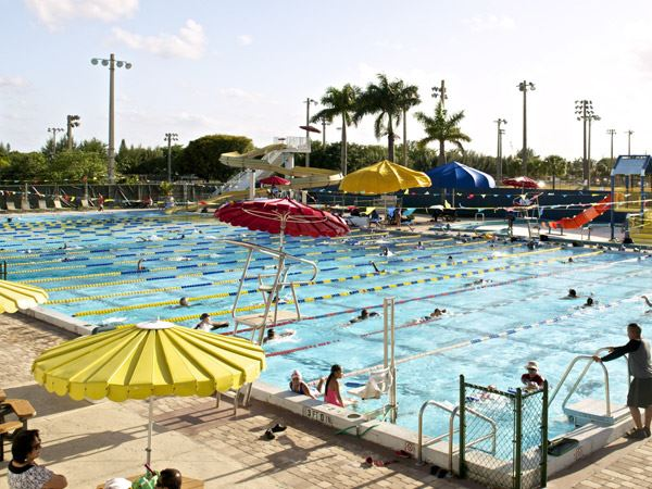 View of the pools during swim team practice and lessons